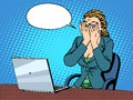 Businesswoman with laptop bad news Royalty Free Stock Photo