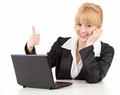Businesswoman with laptop and thumb up Royalty Free Stock Images