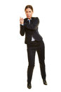 Businesswoman leaning on imaginary wall isolated full body and pushing Royalty Free Stock Image