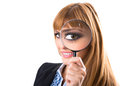 Businesswoman looking through magnifying glass isolated white Royalty Free Stock Photography