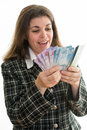 Businesswoman making money happy hispanic woman counting canadian dollars successful business woman in canada s multicultural Royalty Free Stock Photo
