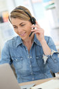 Businesswoman making a video call on internet Royalty Free Stock Photo
