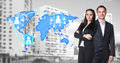 Businesswoman and man stand near map with icons Royalty Free Stock Photo