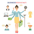 Businesswoman with many hands multitasking Royalty Free Stock Photo