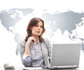 Businesswoman in office on world map background Royalty Free Stock Photo