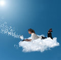 Businesswoman over a cloud Stock Photography
