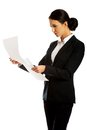 Businesswoman with paper notes Royalty Free Stock Photo
