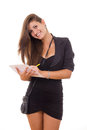 Businesswoman with pen and paper Stock Images