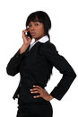 Businesswoman on the phone black Stock Photos