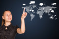 Businesswoman point finger at world map Royalty Free Stock Photo