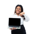 Businesswoman pointing on blank laptop screen afro american Stock Photo