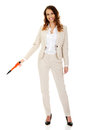 Businesswoman pointing down with pen attractive oversized Royalty Free Stock Images