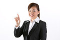 Businesswoman pointing finger at a virtual screen Stock Images