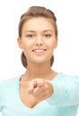 Businesswoman pointing her finger picture of attractive Royalty Free Stock Images