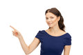 Businesswoman pointing her finger picture of attractive Royalty Free Stock Photography