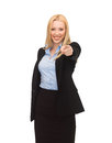 Businesswoman pointing her finger picture of attractive at you Stock Image