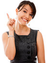 Businesswoman pointing an idea Stock Photo