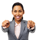 stock image of  Businesswoman Pointing At You With Both Hands
