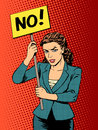 Businesswoman policy protest with a poster no