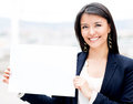 Businesswoman with a poster Royalty Free Stock Photography