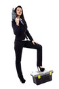 Businesswoman with power tools full length of a young construction over white background Royalty Free Stock Photos