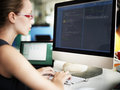Businesswoman Programmer Working Busy Software Concept Royalty Free Stock Photo