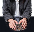 Businesswoman protected money coins saving and insurance concept Stock Images