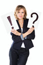 Businesswoman with question and exclamation mark Stock Images