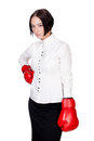 Businesswoman with red boxer gloves white background copyspace Stock Photo