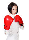 Businesswoman with red boxer gloves white background copyspace Stock Photography