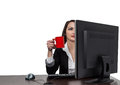 Businesswoman with a Red Cup of Coffee Stock Photography