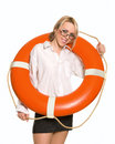 Businesswoman with red life buoy Royalty Free Stock Images