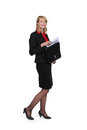 Businesswoman removing document from case Royalty Free Stock Photo