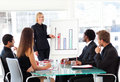 Businesswoman reporting to sales in a seminar Royalty Free Stock Photo