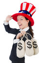 Businesswoman with sacks of money on white Stock Image