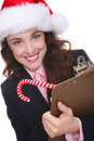 Businesswoman in Santa hat Royalty Free Stock Photos
