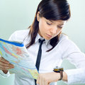 Businesswoman searching the right way Stock Photos