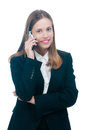 Businesswoman or secretary talking by phone Royalty Free Stock Photo