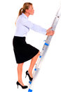 Businesswoman serious climbing a staircase Stock Photos