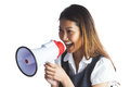 Businesswoman shooting through a megaphone