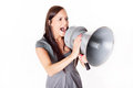 Businesswoman shouting on his megaphone angry with loudspeaker Royalty Free Stock Images