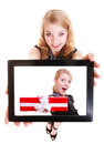 Businesswoman showing ipad tablet touchpad photo christmas gift box happy blond with of modern young woman girl holding and Stock Image