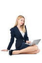Businesswoman sitting on floor Stock Photography