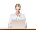 Businesswoman sitting with laptop Royalty Free Stock Images