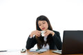 Businesswoman sitting at office desk an doze Royalty Free Stock Photography