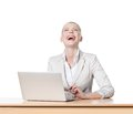 Businesswoman sitting at office table Royalty Free Stock Photo