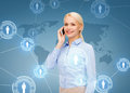 Businesswoman with smartphone over blue background business technology and internet concept Royalty Free Stock Photos