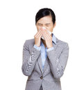 image photo : Businesswoman sneeze