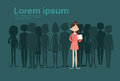 Businesswoman Stand Out From Crowd, Spotlight Hire Mix Race Human Resource Recruitment Candidate People Group Business