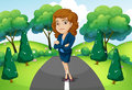 A businesswoman standing in the middle of the street illustration Royalty Free Stock Photography